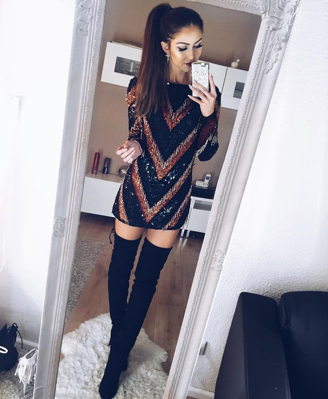 Winter club outfit with knee high boots