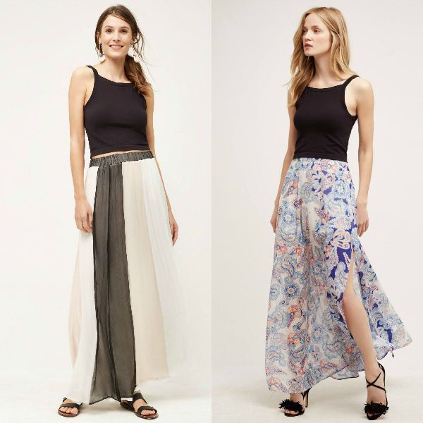 Long summer skirt outfits with boho prints