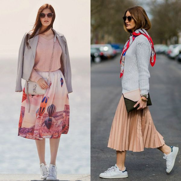 Skirts with sneakers