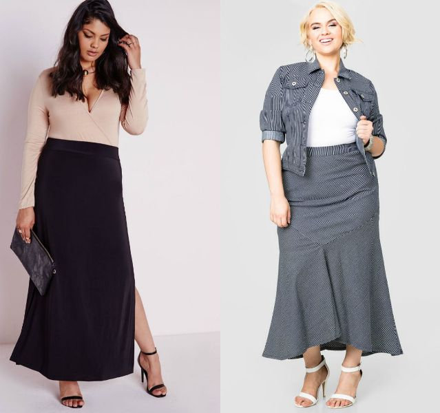 Plus size outfits with maxi skirts