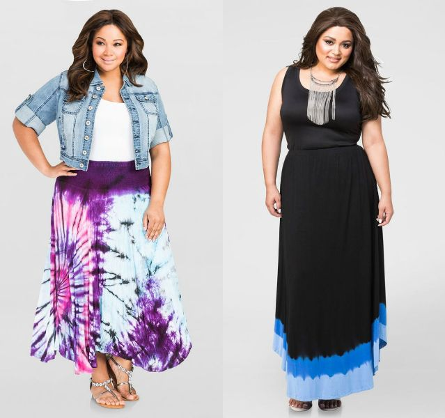 Plus size outfits with maxi skirts for women