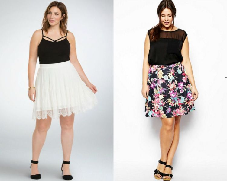 Plus size outfits with short skater skirts