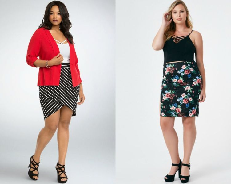 Plus size outfits with short skirts for plus size women