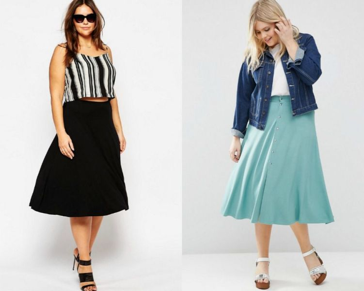 Plus size outfits with midi skater skirts