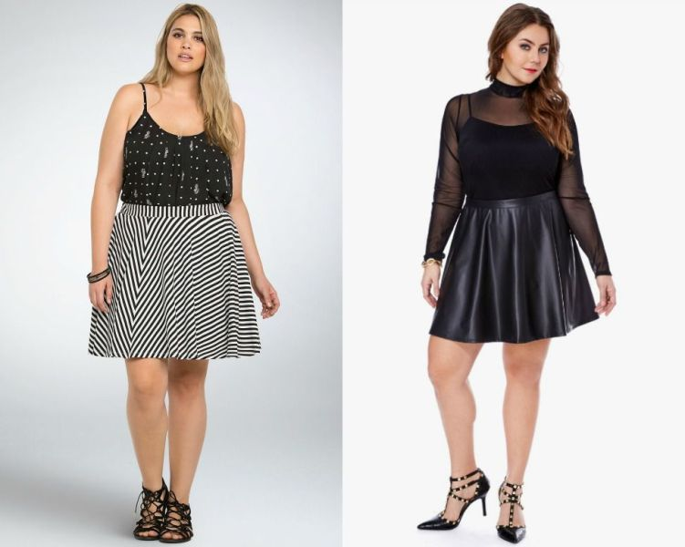 Plus size outfits with skater skirts