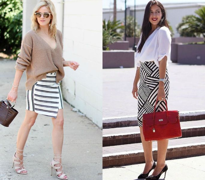Pencil skirt outfits | Black and white pencil skirt outfits