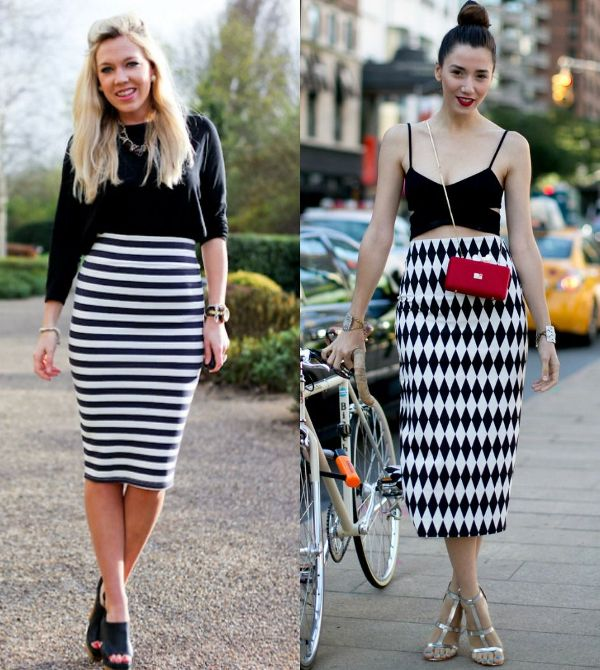 White and black pencil skirt outfit