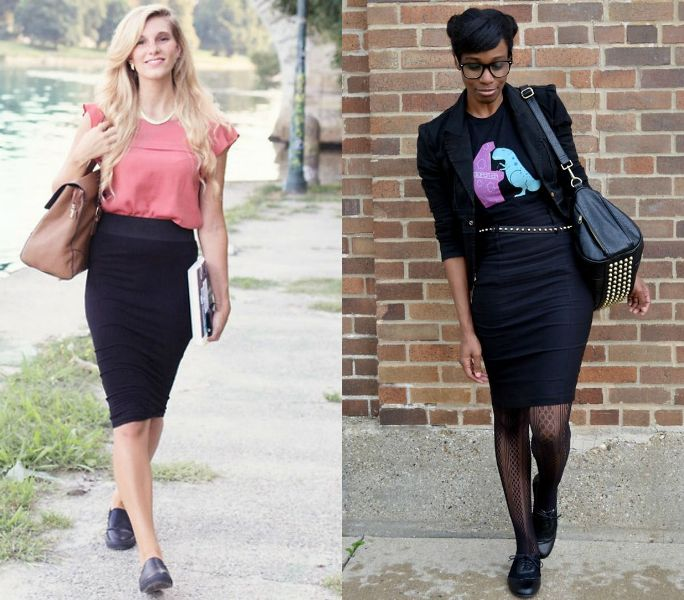 Office black pencil skirt outfits with flat shoes