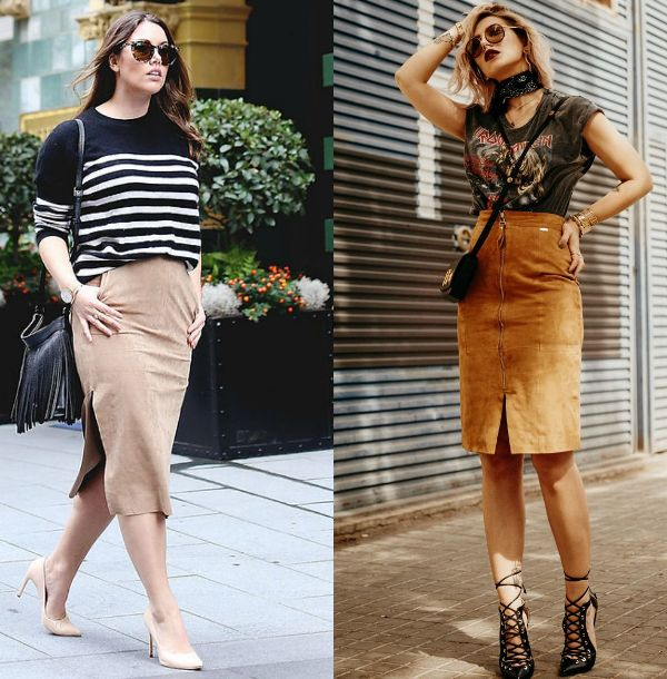 Brown suede pencil skirt outfits