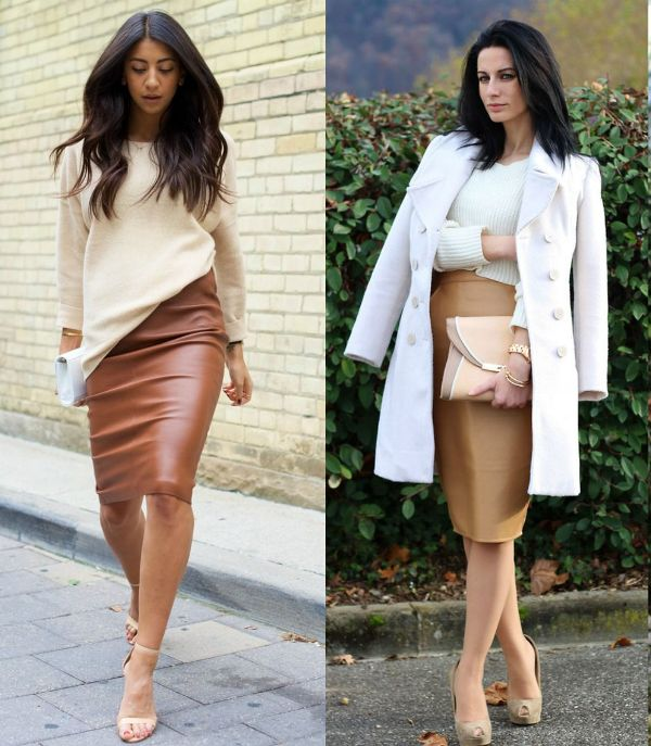 Brown pencil skirt outfits