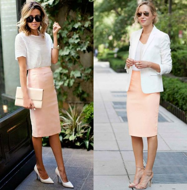 Cream pencil skirt outfits