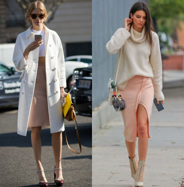 Cream pencil skirts outfits for women