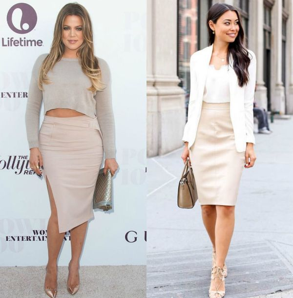 Pencil skirt outfits | Outfits with midi cream pencil skirts