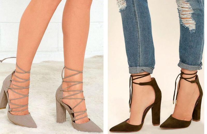 Cute cut out lace up high heels