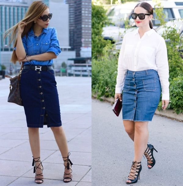 Pencil skirt outfits | Outfits with denim pencil skirts