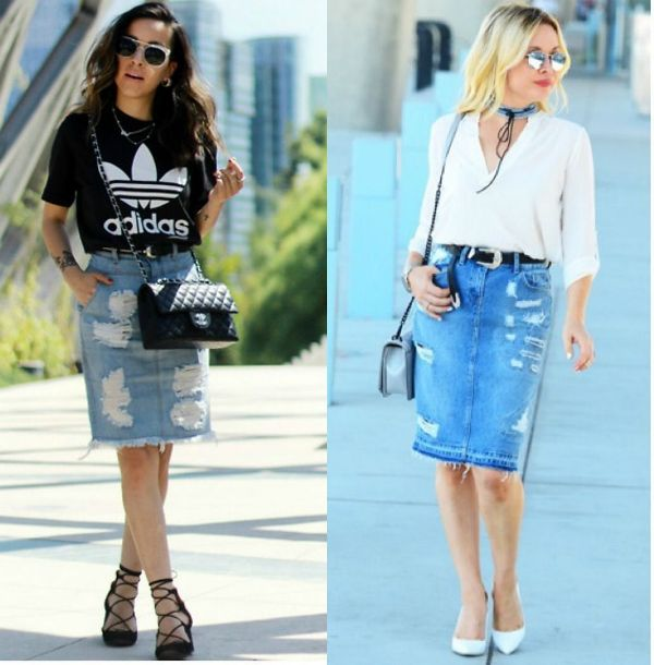 Pencil skirt outfits | Denim pencil skirt outfit