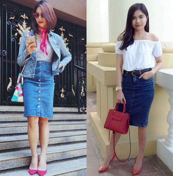 Pencil Skirts Outfits | Jean pencil skirt outfit
