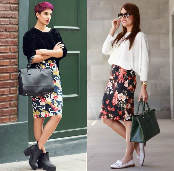 Flower pencil skirt outfit