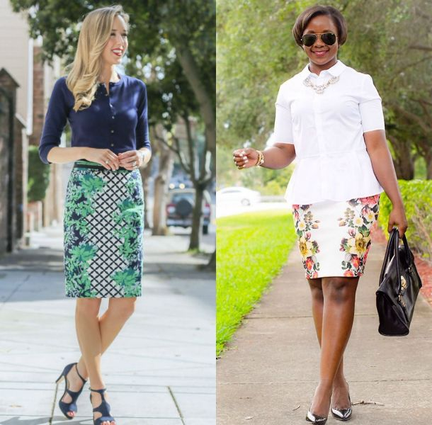 Pencil skirt outfits | Ladies floral pencil skirt outfit