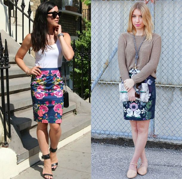 Pencil skirt outfits | Floral tube skirt outfit