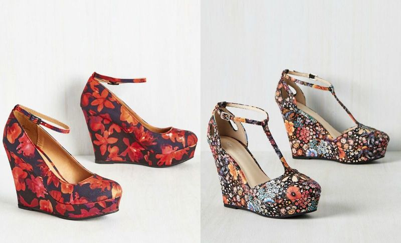 Floral wedges shoes