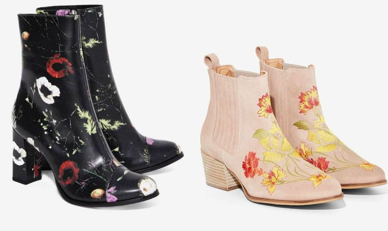 Ankle boots with floral print