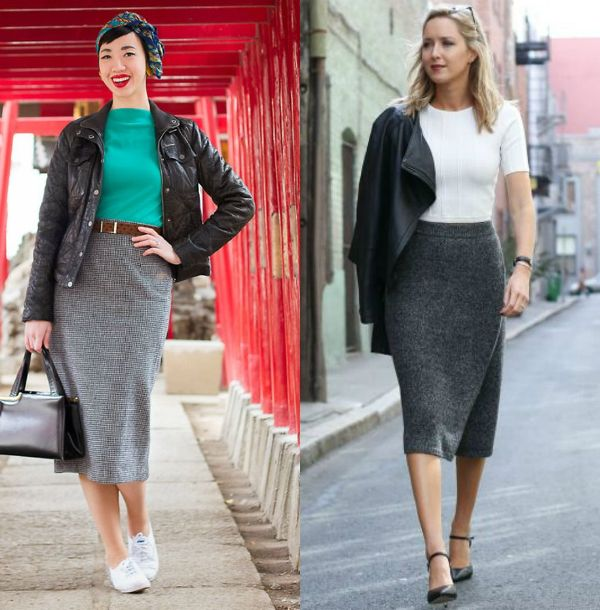 Pencil skirt outfits | Gray long pencil skirts for women