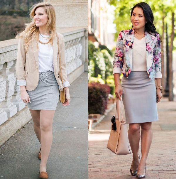 Grey pencil skirt outfit