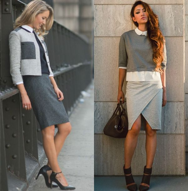 Pencil skirt outfits | Outfits with gray pencil skirts