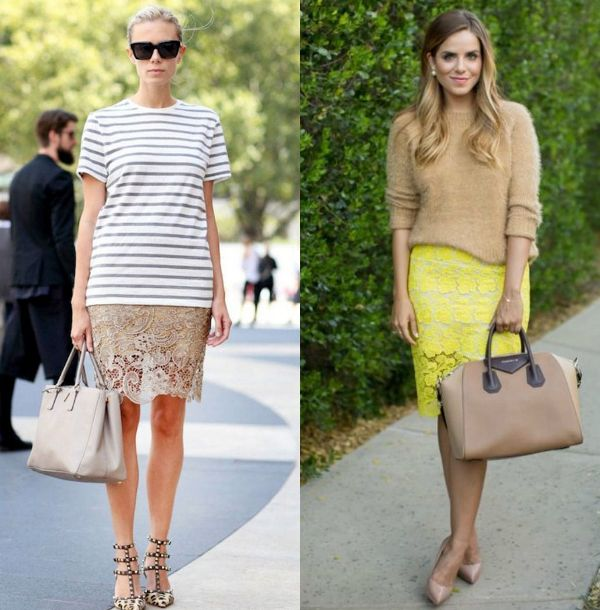 Lace pencil skirt outfits