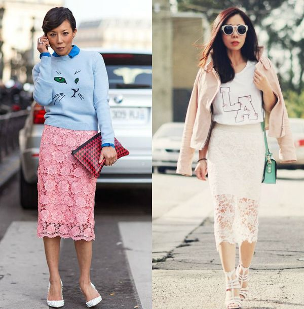 Outfits with lace pencil skirt