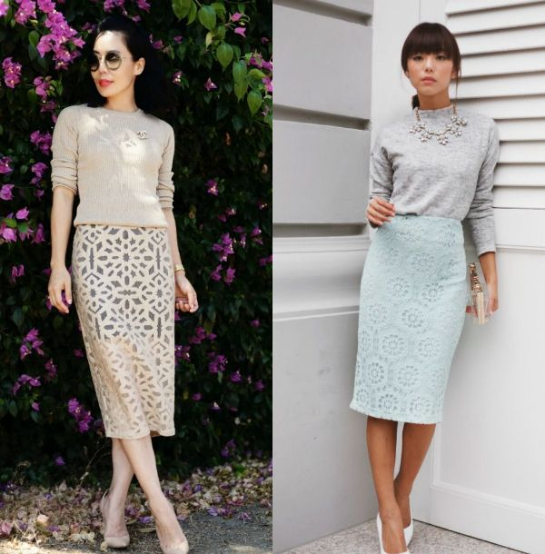 Pencil skirt outfits | Cute lace pencil skirts outfits
