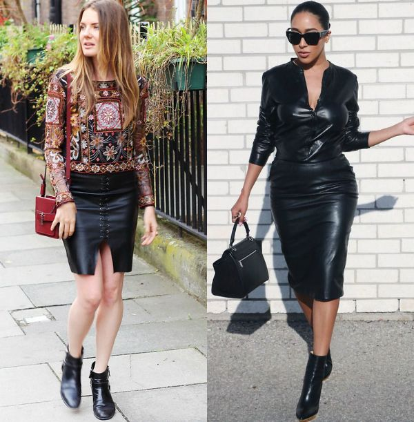How to wear casually a black leather pencil skirt outfit with ankle boots