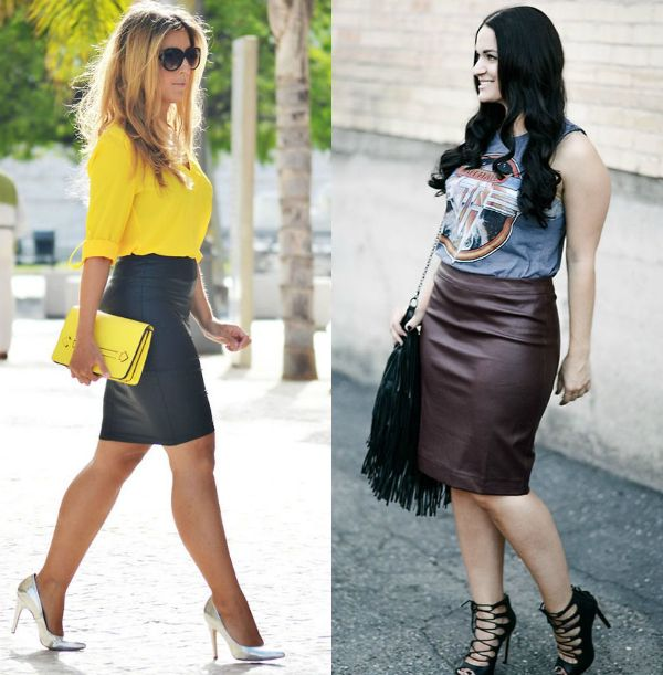 Leather pencil skirt outfits for stylish ladies