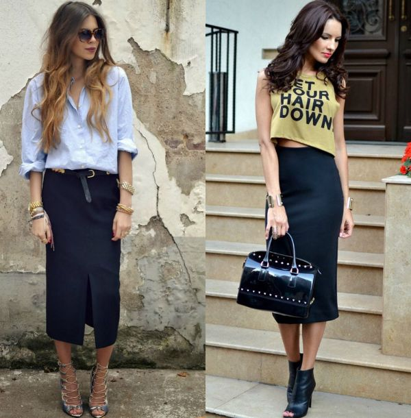 Be casual and sweet with one of these long black pencil skirt outfits