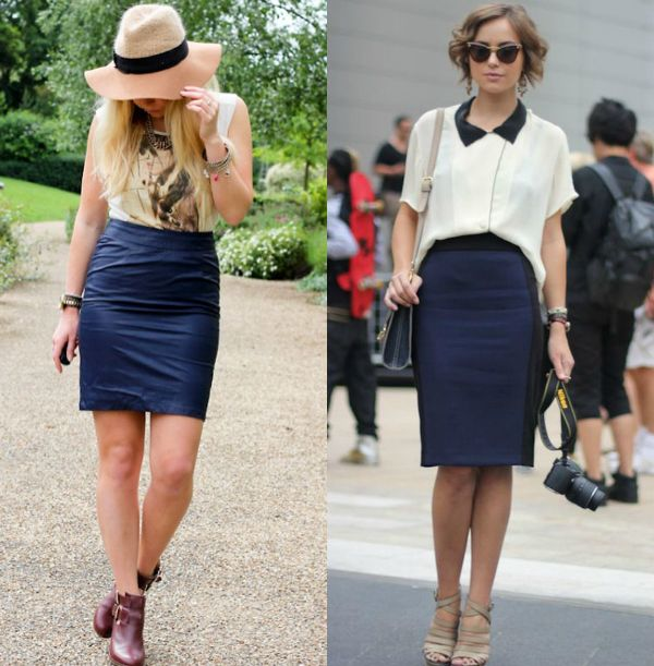 Blue pencil skirt outfits