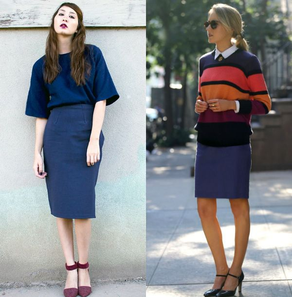 Pencil skirt outfits | Navy pencil skirt outfits