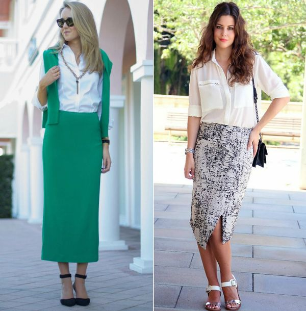 Pencil skirts below the knee outfits