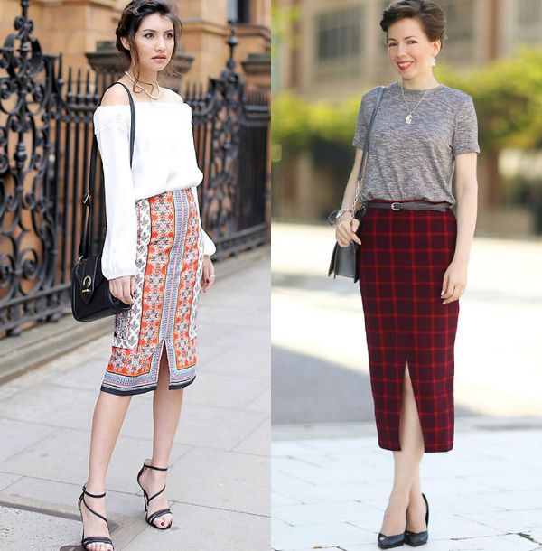 Long pencil skirts outfits with diffrent prints