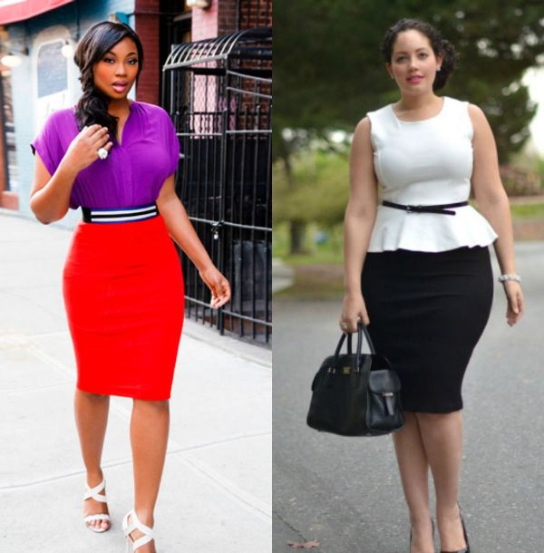 Plus size stretch pencil skirts outfits