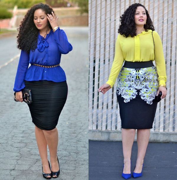 Plus size outfits with stretch pencil skirts