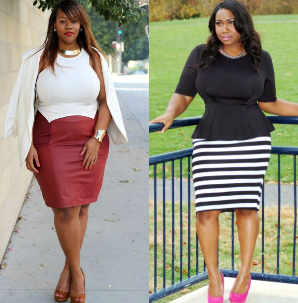 High waisted plus size stretch pencil skirt outfit