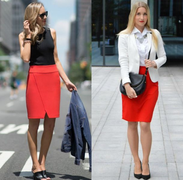 Ladies red pencil skirt outfit