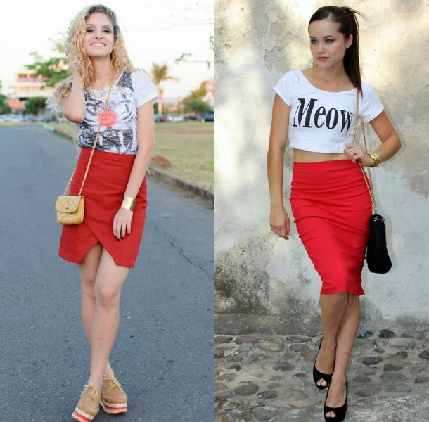 Red pencil skirt outfits for women