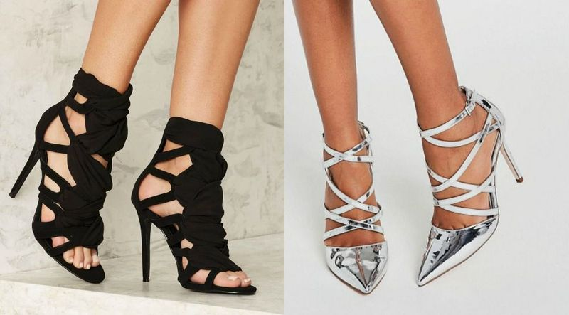 High heels with ankle straps