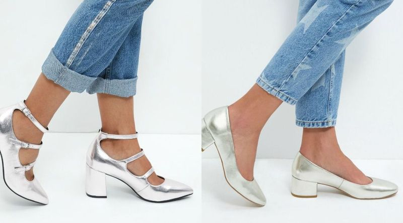 Silver shoes with block heels