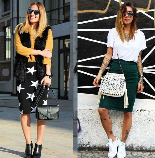Casual stretch pencil skirt outfits