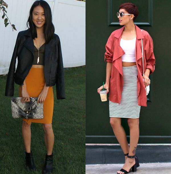Pencil skirt outfits | Outfit with a stretch pencil skirt