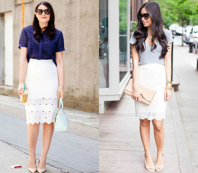White pencil skirt outfit ideas