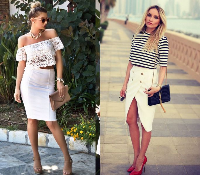 White pencil skirt outfit for ladies